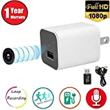 WRD Hidden Spy Camera 1080P HD USB Wall Charger (WHITE 2018) Spy Camera Adapter for Home, Office, Business