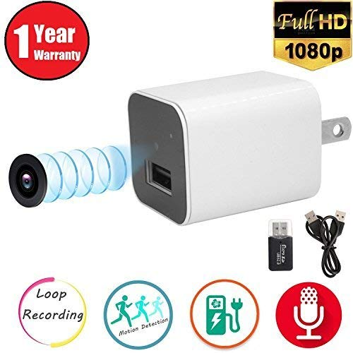 WRD Hidden Spy Camera 1080P HD USB Wall Charger (WHITE 2018) Spy Camera Adapter for Home, Office, Business by WRD