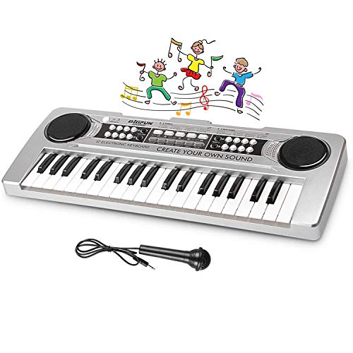 LYBALL Kids Piano 37 Keys Multi-Function Keyboard Organ Electronic Piano with Microphone & MP3 Music Function Kids Starter Music Toy Silver 16.92 inches
