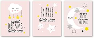 "3 Set- Pink Clouds Moon Stars Quote Art Print,Colorful Lovely Inspirational Family Love Saying Canvas Wall Art Printing for Kids Baby Bedroom Decoration (Unframed,8""X10"")"
