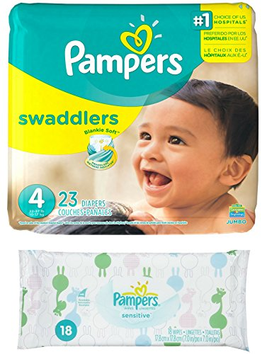 Diaper / Baby Wipe Travel Pack | Includes Pampers Swaddlers Size 4 (23 count) and Sensitive Wipes Resealable Container (18 count)
