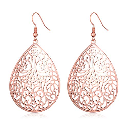 (HUIMEI Filigree Dangle Earrings with Hollow Pattern Design)
