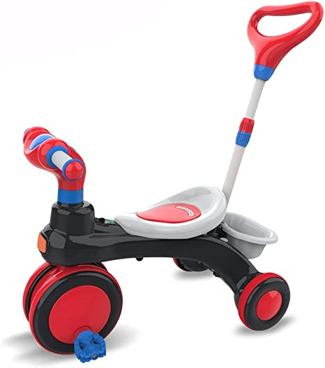 SONG Sillas de paseo Carrito De Bebé Bicicleta De Paseo Infantil Triciclo for Niños Paseo Empujable Con Musica (Color : Red): Amazon.es: Bebé