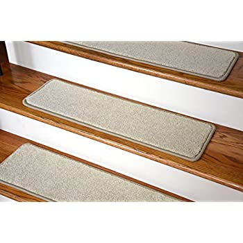 Captivating Dean Nylon Non Slip DIY Carpet Stair Step Treads, Yacht Club Beige, 27