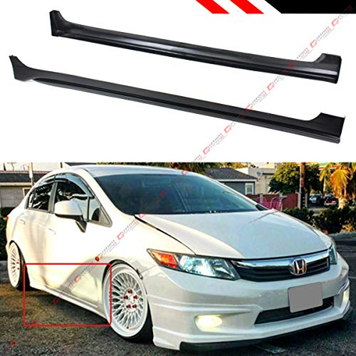 - Fits for 2012-2015 9TH Honda Civic 4 Door Sedan JDM Style Side Skirt Extension Rocker Panel