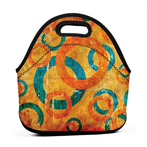 Rugged Lunchbox Abstract,Geometric Fractal Circles,raiders lunch bag for men