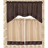 RT Designers Collection Bermuda Ruffle Kitchen Window Curtain, Chocolate