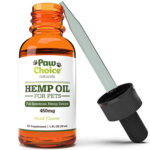 Paw Choice Hemp Oil for Dogs and Cats - 450 mg - Anxiety Relief, Calming Aid, Eases Pain & Inflammation, Improves Joint Health and Wellness, Organic Pet Supplement Made in USA, 1 Fl Oz - Aid Wellness Oil