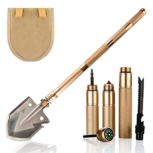 KP Solution Chico Group Folding Camping Survival Shovel, Entrenching Multi Tool, for Backpacking, Gardening (Gold) by KP Solution