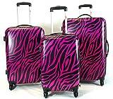 3pc Lightweight Hardside Hard Case Printed Travel PC 4 Wheels Spinner Luggage Set - Safari Animal Zebra Print (Black / Fuschia)