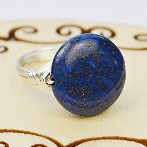 Gemstone Choice Twist (Lapis Lazuli Gemstone Bead and Sterling Silver or Gold Filled Wire Wrapped Ring- Custom made to size 4)