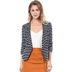 Allegra K Women Elastic Sleeves Work Office Business Casual Striped Blazer Blue White L
