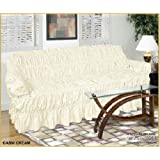 3 Seater CREAM Jacquard Sofa Cover - Universal Elastic Fitting (better than a throw) HC