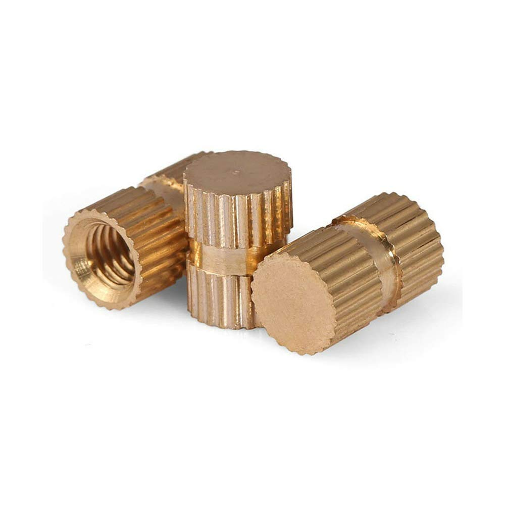 Solid Brass Knurled Insert Nuts Thumb Embedded Nuts Blind-Hole M3/M4/M5/M6/M8 by LZH-LP