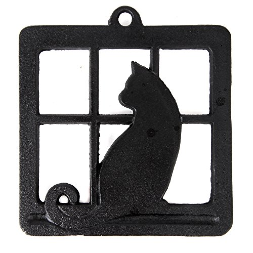 Black Soup Tureen (Home-X Cast Iron Trivet, Square Trivet with Single Cat in Window)