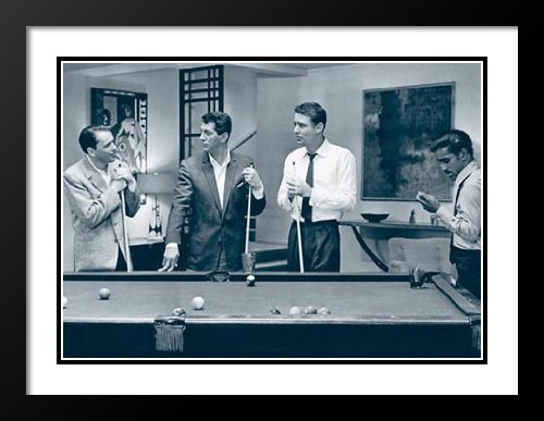 Rat Pack - Pool 25x29 Framed and Double Matted Art Print. - Rat Pack Artwork