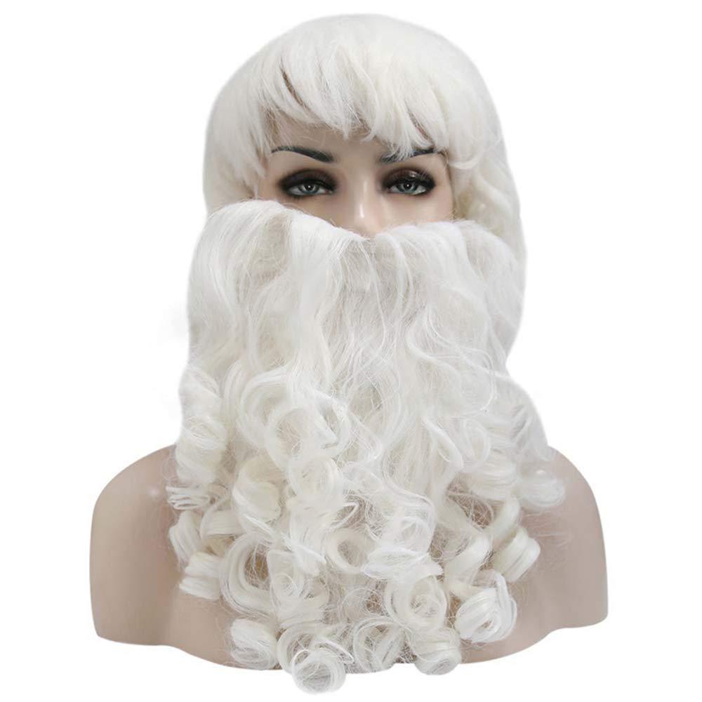 2 Pc//Sistema Trajes Blancos De Navidad De Santa Peluca Realista Barba Vestido Traje De Accesorios para La Celebraci/ón De D/ías