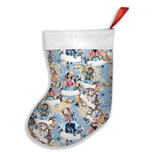 Watercolor Cowboys and Cowgirls Christmas Stocking Xmas Tree Decorations Santa Socks Snowman Ornaments Candy Bags