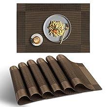 homEdge Placemat, 6 PCS of Non-Slip Heat Resistant PVC Place Mats, Washable Vinyl Placemats - Brown