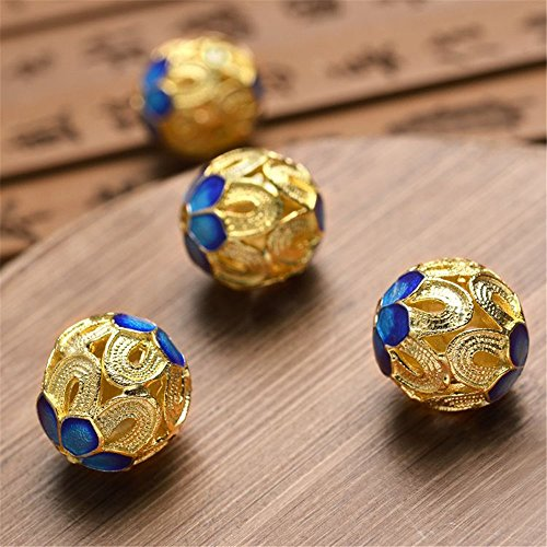 - MFMei 925 Sterling Silver Round Filigree Golden Plated Cloisonne Spacer Beads (TL008)