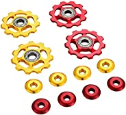 Acmdehk 4 Pieces 11T Aluminum Sealed Bearing Jockey Wheel Bicycle Guide Roller Rear Derailleur Pulley (Red and