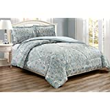 3-Piece Fine printed Paisley Duvet Cover Set KING SIZE - 1500 series high thread count Brushed Microfiber - Luxury Soft, Durable (Pale Blue, Grey, Paisley)
