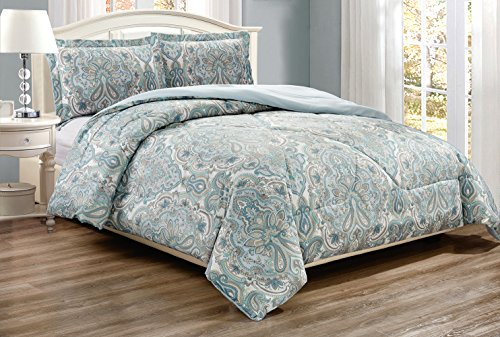 3-Piece Fine printed Comforter Set Reversible Goose Down Alternative Bedding KING / CAL KING (Pale Blue, Grey, Paisley)