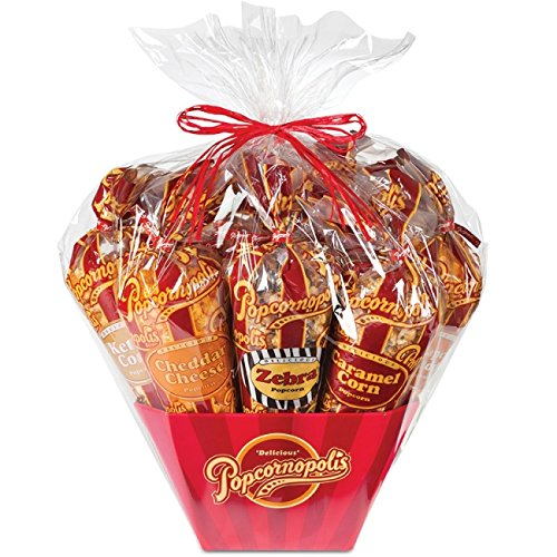 Popcornopolis 7 Large Cones Variety Popcorn Gift Basket, Gluten Free (Includes one large cone each of Caramel, Kettle, Zebra, White Cheddar, Cinnamon Toast, Cheddar Cheese, and Red Velvet)