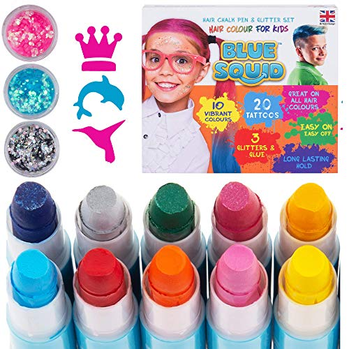 Hair Chalk for Girls Pens - & Glitter Tattoo Set, 10 Temporary Hair Color Pens for Kids, 20 Stencils, 3 Glitters & Glue, Vibrant Washable Hair Dye Pens, Birthday Gift, Girls Hair Accessories Crayons
