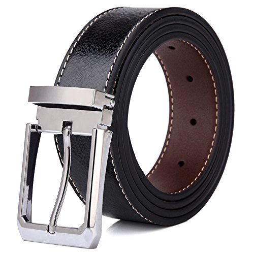 Tonly Monders Men's Belt Leather Reversible Black Brown (Brown Designer Belts)