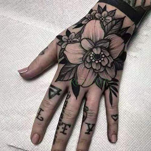 3pcs Tatuaje Impermeable Etiqueta engomada Sola Flor Tatto pie del ...