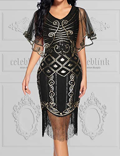 1920s Flapper Dress Dress Black Gatsby Art Deco Roaring Cape with Deco 20s Sequined Beaded Dress Shawl UUzrdq