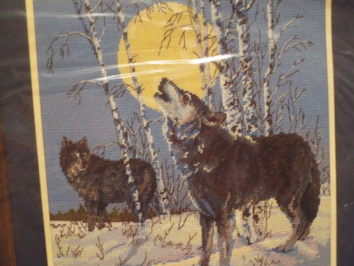 Wolf Needlepoint Kit (Song of the Wild -- The haunting cry of a wolf echoes across the moonlit sky, a signal to others in its pack -- 14