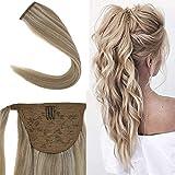 Youngsee 18inch Hair Extensions Ponytail Warp Around Dark Honey Blonde with Golden Blonde Human Hair Ponytail Extensions 80g