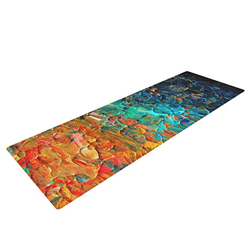 Kess InHouse Ebi Emporium ''Eternal Tide II'' Yoga Exercise Mat, Teal/Orange, 72 x 24-Inch by Kess InHouse