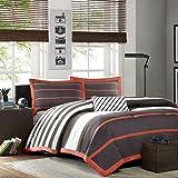 Gray, Orange & Green Stripe Boys Full / Queen Comforter, Shams & Toss Pillow (4 Piece Bedding) + HOMEMADE WAX MELT