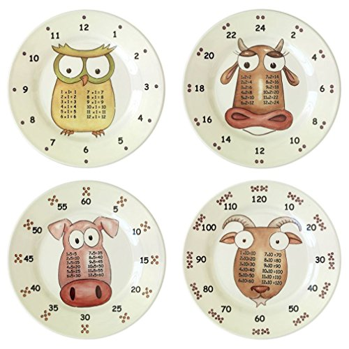 The Multiples Award-Winning Times Table Dinnerware 4-piece Early Years 9 inch Melamine Plate Set Early Years Plates