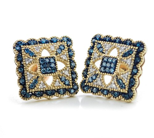 10K Gold Blue and White Diamond Fashion Earrings for Her 12mm Wide Antique Style (i2/i3, I/j 1/5ctw) ()