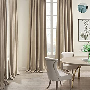 COFTY Linen Cotton Eco-Friendly Curtain Panel Drapery 2-Layer heavyweight for Kitchen Bedroom Living Room School Rod Pocket – Sand 42Wx96L Inch 1 Panel