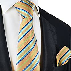 Peach Cobbler Striped Silk Tie and Pocket Square . Paul Malone Red Line