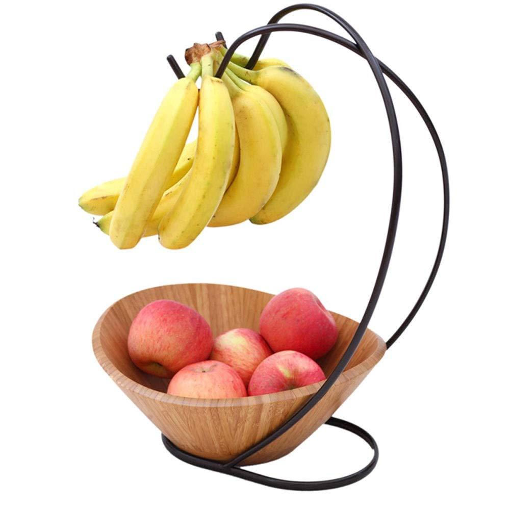 MQQ Bamboo fruit plate salad bowl iron shelf hook creative fruit basket living room fruit basket fruit bar fruit bowl kitchen