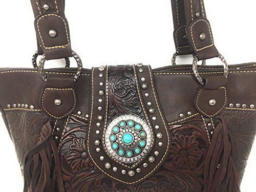 Brown Set Shoulder Tote Matching W Styling Handbag Purse Zip Fringe With Trinity Dark Western And Floral Wallet Top Coffee Tooled Wallet Carry Concealed Ranch Leather of With Bag SwS0qzr
