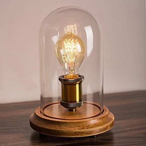 Surpars House Solid Wood Bedside Table Lamps for Living Room,Bedroom,Edison Bulb Included (Bedroom Edison Lights)