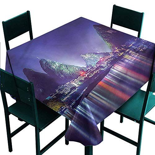 DONEECKL Washable Tablecloth Landscape Mountain Trees in China Picnic W50 xL50