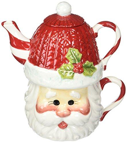 Christmas Teapot - Cosmos Gifts 10639 Santa Tea for 1 Tea Set, 6-1/4-Inch