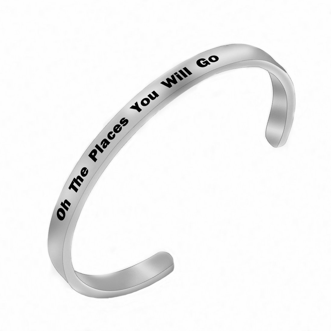 RUNXINTD Graduation Gift,Inspirational Bracelet Oh the places you will go, Travel Gifts Gift for Graduation of High School,Graduation of College (Cuff Bracelet-Silver)