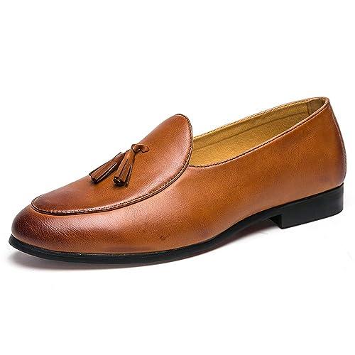 HILOTU Zapatos Oxford de Cuero Hechos a Mano de Los Hombres Borla Clásica Semi Formal Mocasines Zapatos de Vestir: Amazon.es: Zapatos y complementos