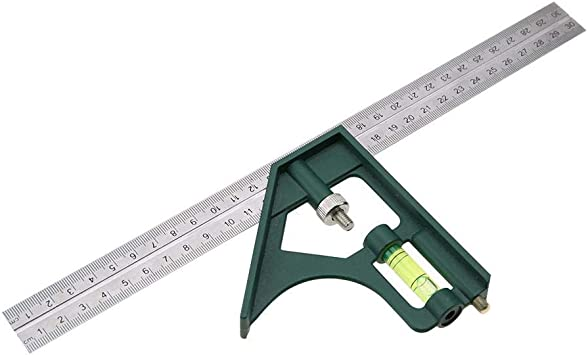 Combination Square 12/'/' Stainless Steel Carpenter/'s Tool Adjustable Ruler