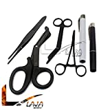 LAJA IMPORTS Premium First Aid Shears EMT Scissors Combo Pack (with 7-1/4'' Titanium Shear) with Holster - Tactical Black