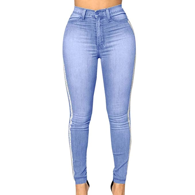 Kehen Juniors Teen Girls Side Stripe Jeans Light Blue Skinny Denim Pants Women Super Stretch Slim Denim Leggings